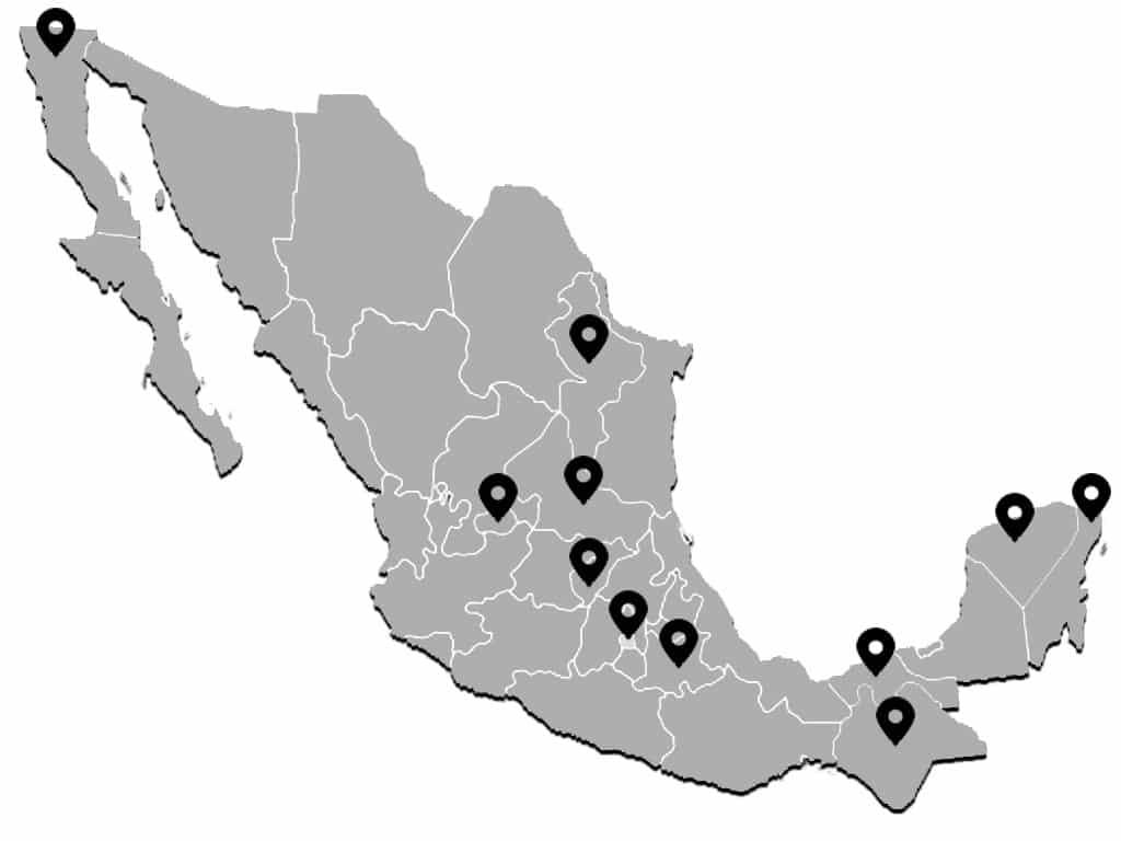 LXP México Ubicaciones